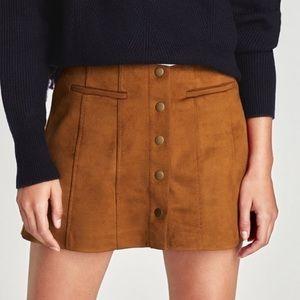 ZARA Chestnut Tan Suede Button Down Mini Skirt